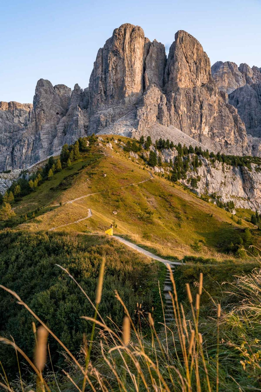 Golden hour at Passo Gardena in the Dolomites