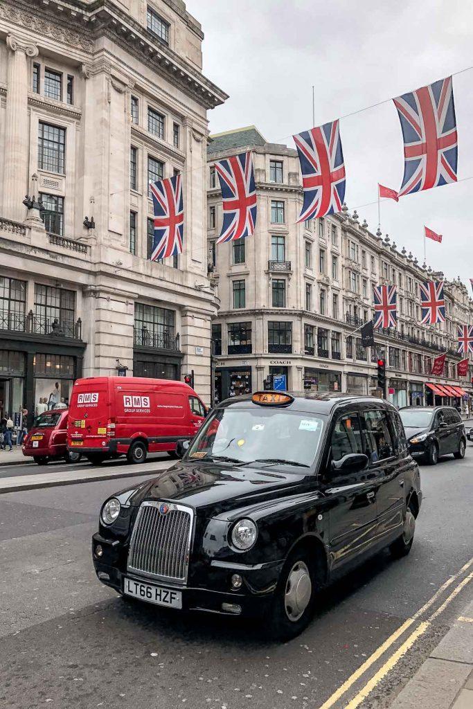 Black taxi on the Regent Street in London