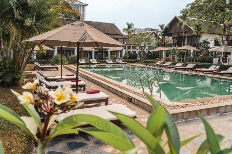 Pool area at the Riverside Boutique Resort in Vang Vieng