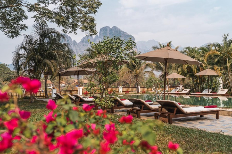 Pool area at the Riverside Boutique Resort Vang Vieng