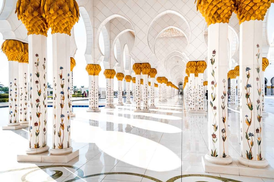 Beautiful columns at the Sheikh Zayed Grand Mosque in Abu Dhabi