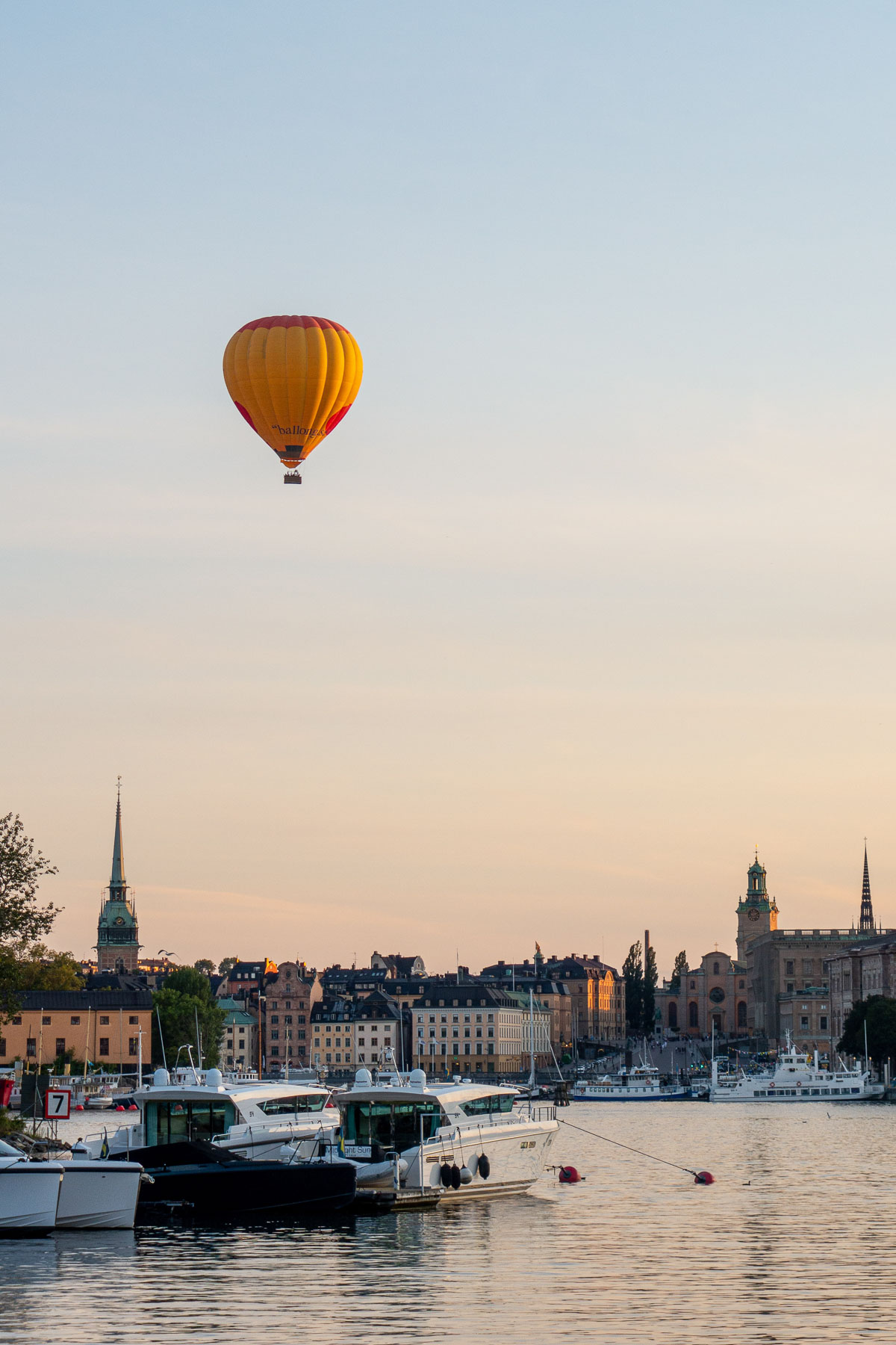 Hot air balloon over Stockholm