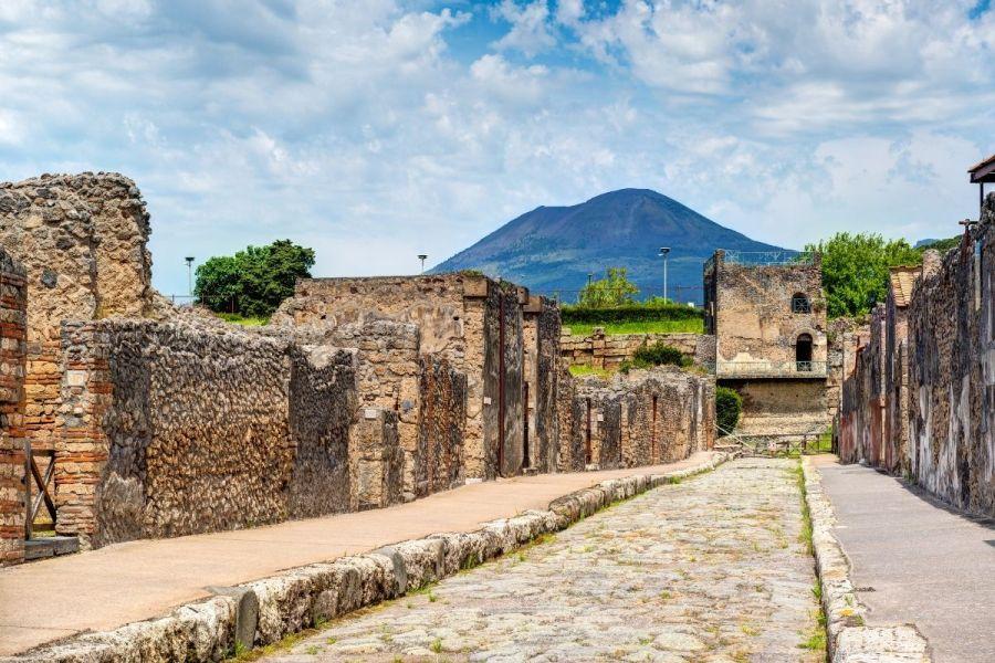 Street in Pompeii overlooking the Vesuvius