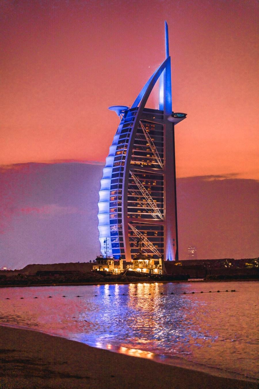 The Burj Al Arab in Dubai during night