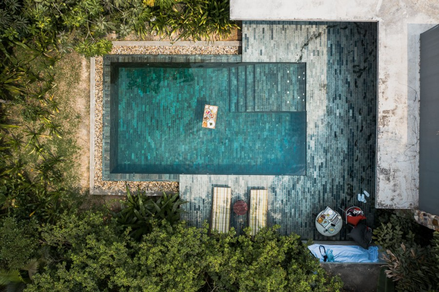 Drone shot of our private pool villa at Templation Siem Reap
