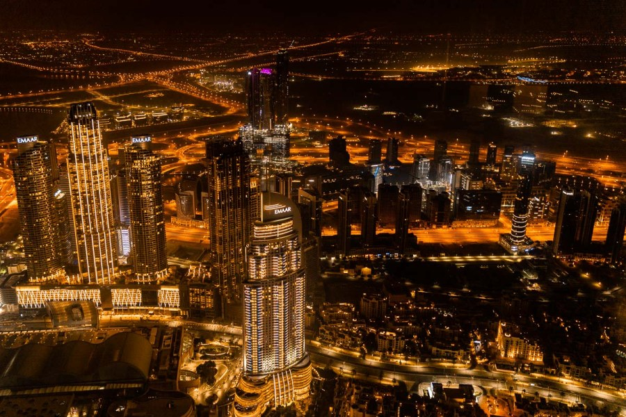 View of the Dubai skyline from the Burj Khalifa at night