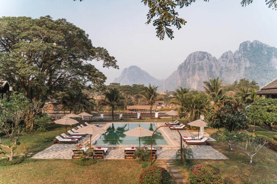 View from the terrace at Riverside Boutique Resort Vang Vieng
