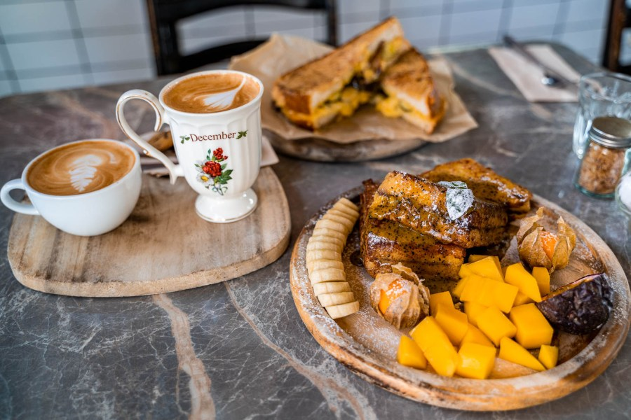 Breakfast in Chiang Mai with French toast and coffee at Rustic and Blue