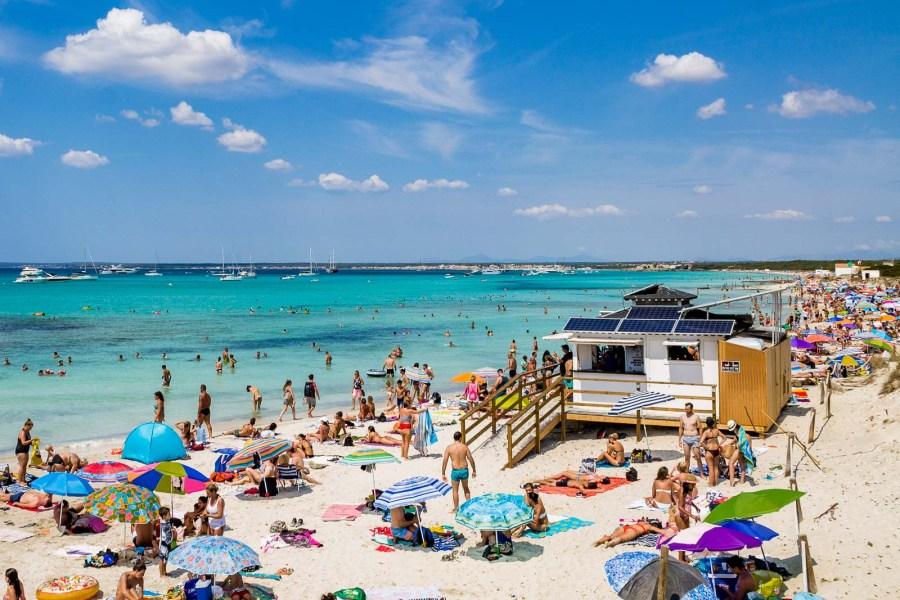 The beautiful white sandy Es Trenc Beach in Mallorca