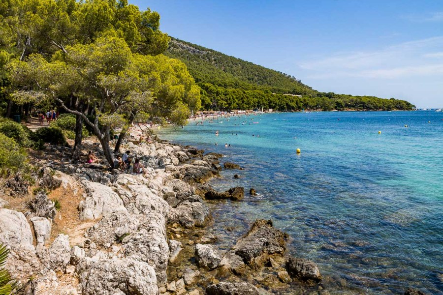 Rocky beach at Platja de Formentor in Mallorca