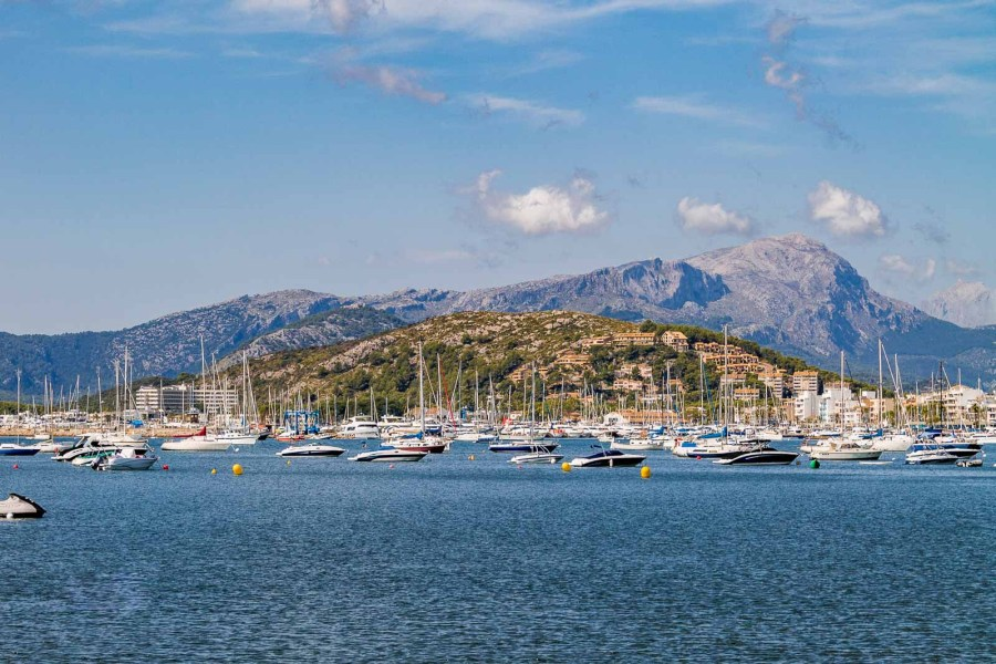 Panoramic view of Port de Pollenca, Mallorca