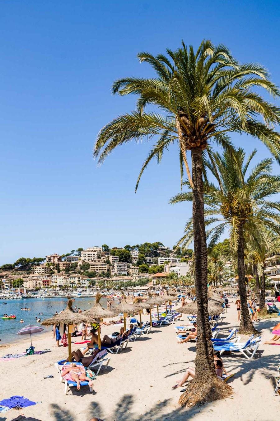 White sandy beach at Port de Soller in Mallorca