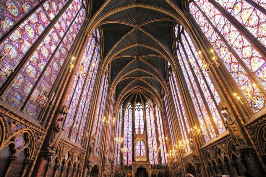 Beautiful stained glass inside the Sainte Chapelle in Paris