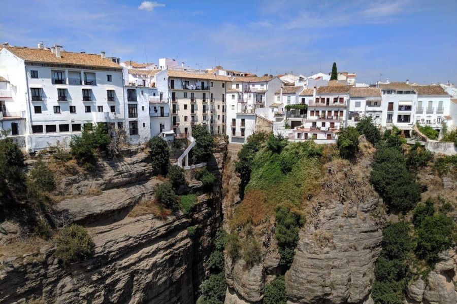 White houses on the cliffs in Ronda, Spain
