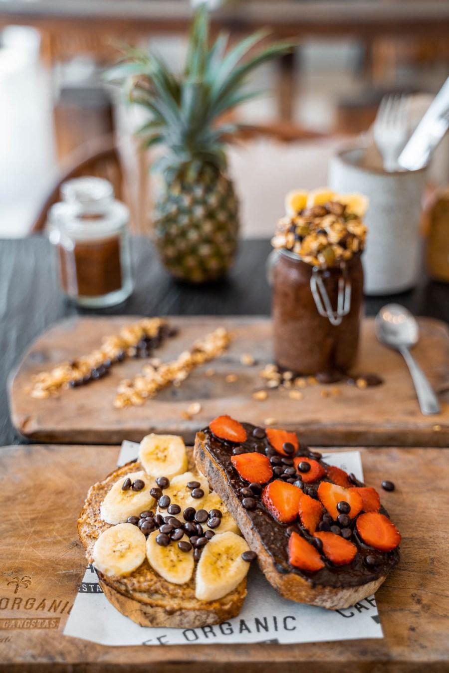 Breakfast with banana and chocolate toast at Cafe Organic in Canggu, Bali