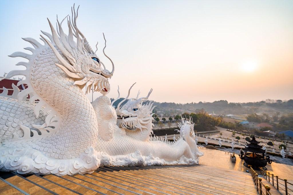 White dragon statues at Huay Pla Kang Temple in Chiang Rai