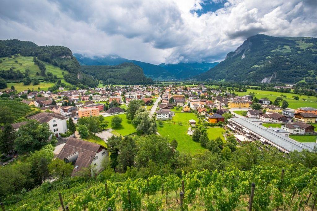 Panoramic view of Balzers, Liechtenstein