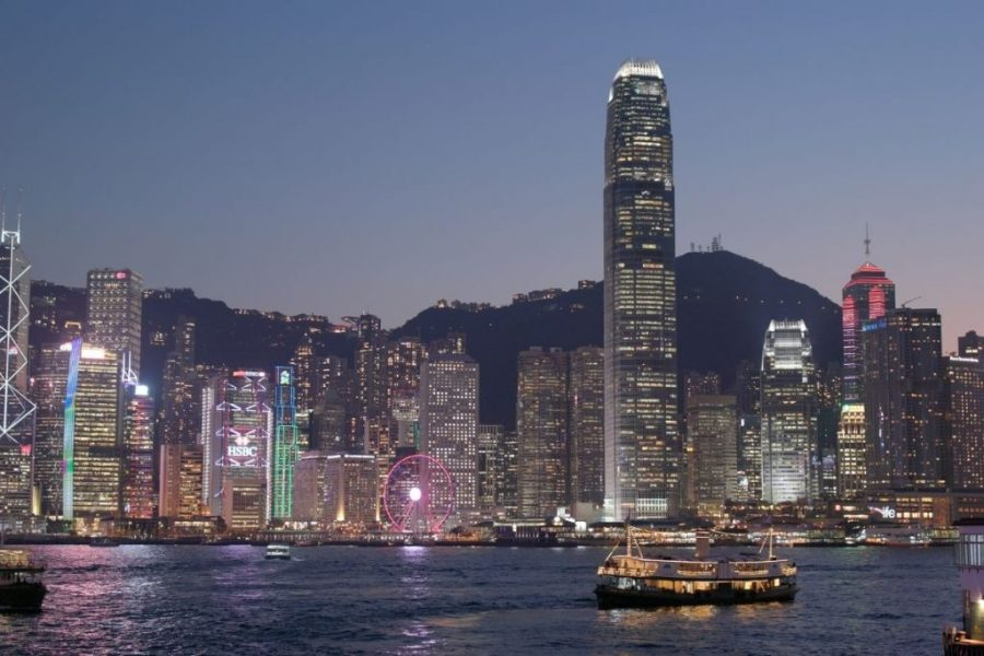 View of Hong Kong island at night from Tsim Sha Tsui waterfront