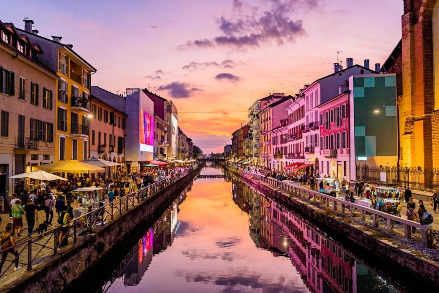 Sunset in Navigli, Milan, Italy