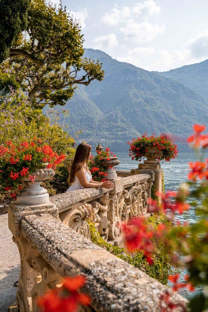 Girl in a white dress in Villa del Balbianello, Lake Como