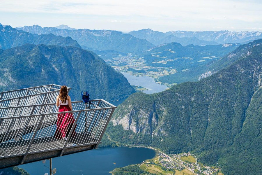 Girl in a red skirt on the 5 Fingers Viewing Platform, Austria