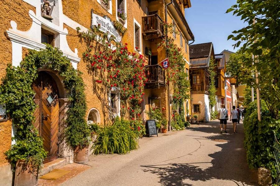 Cute street in Hallstatt, Austria