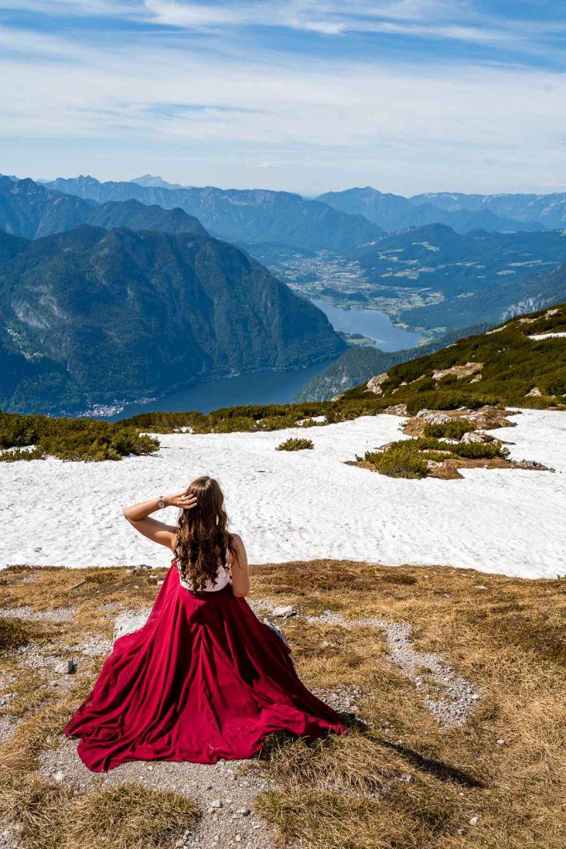 Girl in a red skirt on top of Dachstein Krippenstein