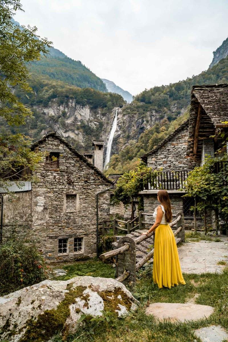 Girl in a yellow skirt at Foroglio, Switzerland