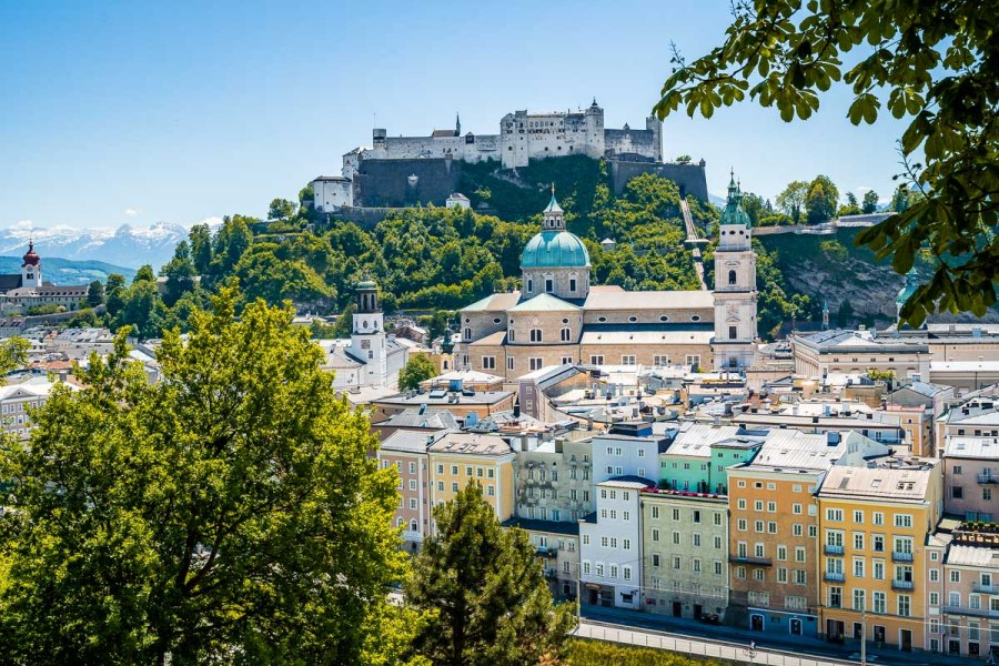 Panoramic view of Salzburg from the Kapuzinerkloster viewpoint