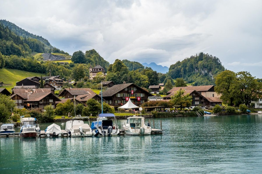 Boats and wooden houses at Lake Brienz, Switzerland