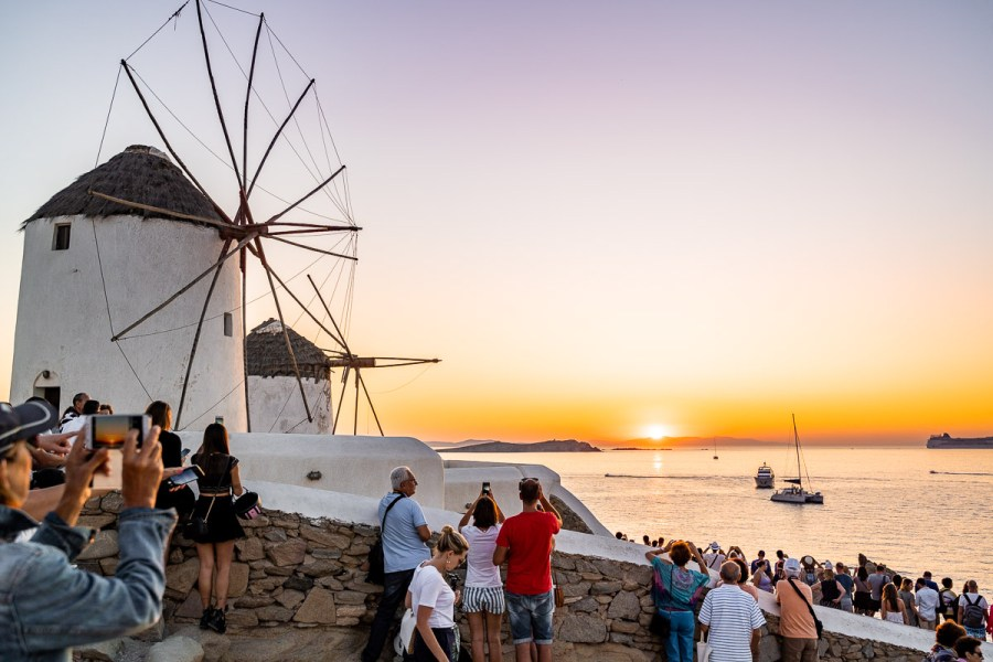 Sunset at the windmills in Mykonos