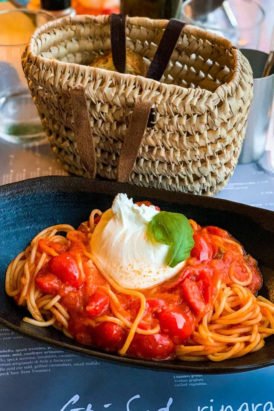 Spagetti with burrata at Cote Sud in Menton, France
