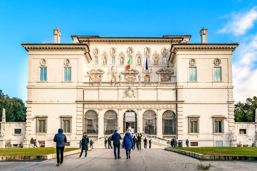 Exterior of the Borghese Gallery in Rome, Italy