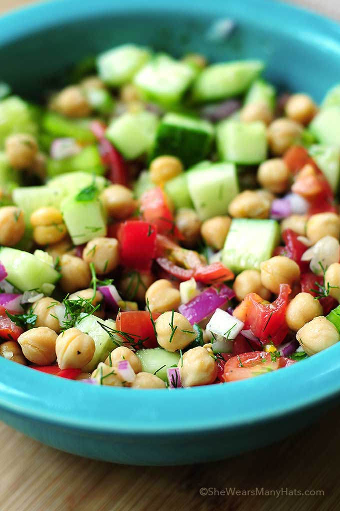 Cucumber Chickpea Salad Recipe | shewearsmanyhats.com