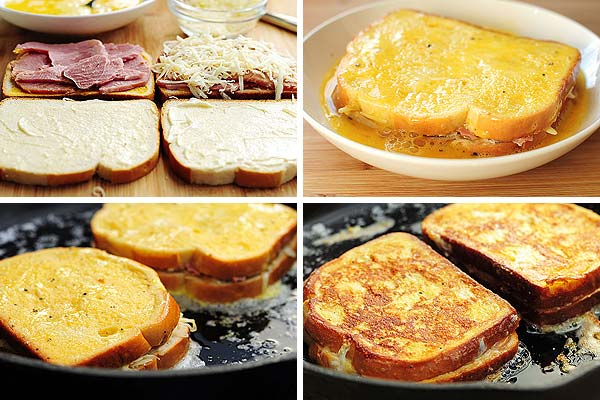 grid of images showing steps to make monte christo sandwich