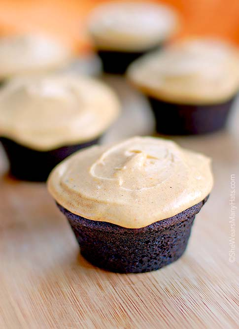 Chocolate Muffins with Pumpkin Frosting