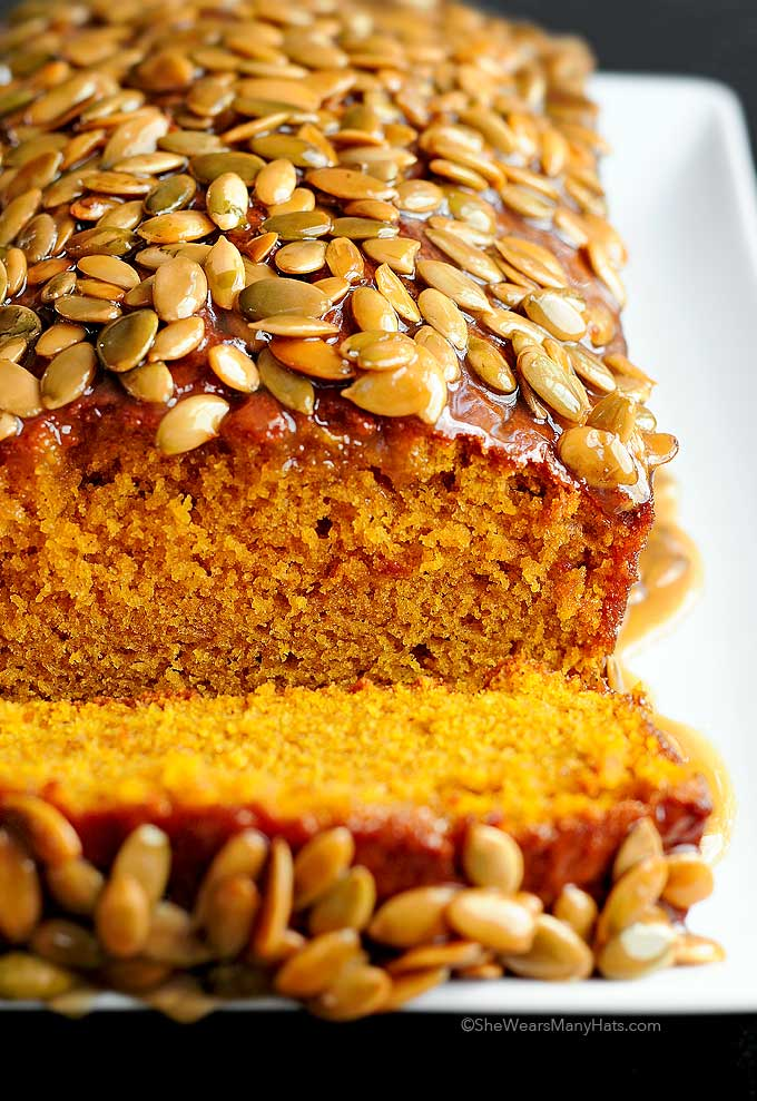 This Pumpkin Bread recipe with warm cinnamon and ginger will have your home smelling so good! This easy recipe makes 2 loaves. Make one and share the other.
