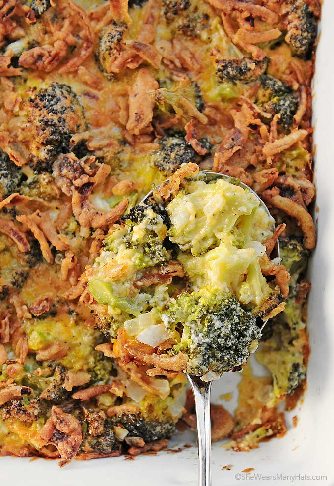 This easy Cheesy Broccoli Casserole recipe is a side dish perfect for family gatherings and potluck dinners. This recipe does NOT use canned soup.