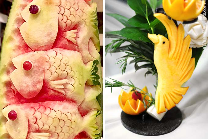 A variety of food and fruit carving discovered on a recent cruise.