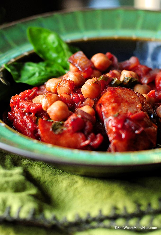 This delicious Italian Style Garbanzos and Sausage Recipe is a great weeknight meal that is quick and easy to make. Easily adapt for a vegetarian version if desired.