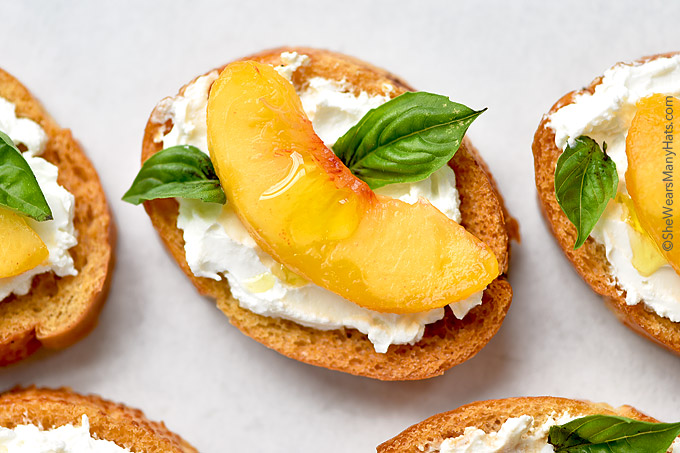 Peach and Goat Cheese Bruschetta Recipe shewearsmanyhats.com