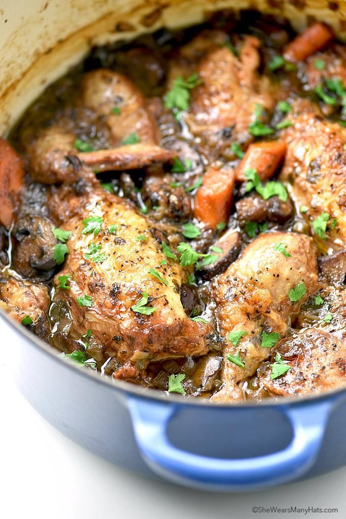 Easy and delicious Coq au Vin Recipe | shewearsmanyhats.com