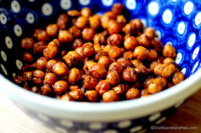 Spicy Roasted Garbanzos Recipe shewearsmanyhats.com