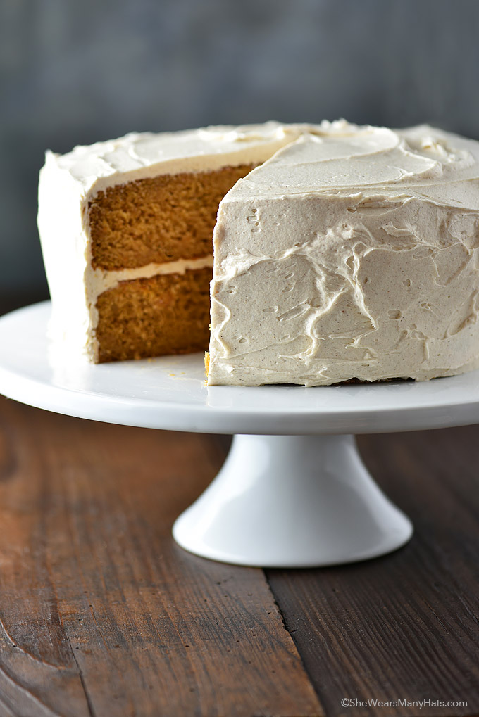 Sweet Potato Cake with Cinnamon Honey Buttercream Frosting from shewearsmanyhats.com