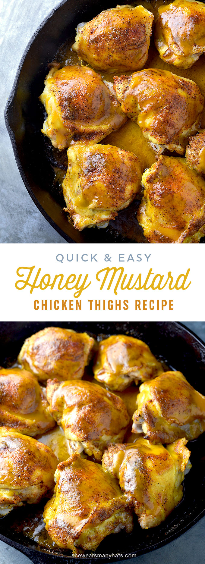 Honey Mustard Baked Chicken Thighs Recipe   She Wears Many ...