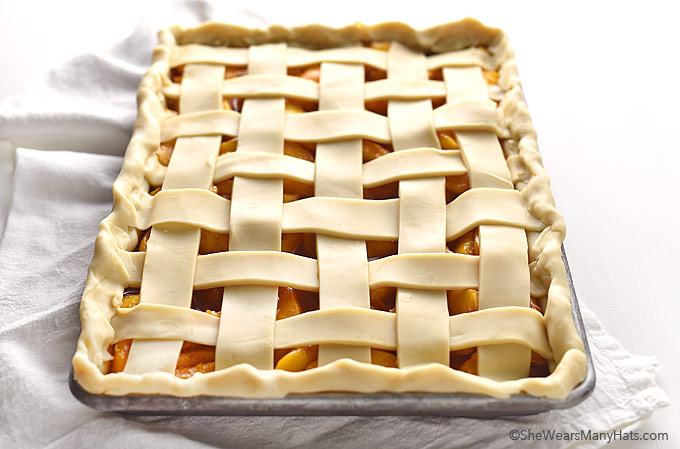 Peach Slab Pie Recipe   shewearsmanyhats.com