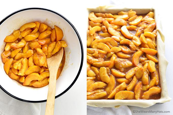 Homemade Peach Slab Pie Recipe   shewearsmanyhats.com