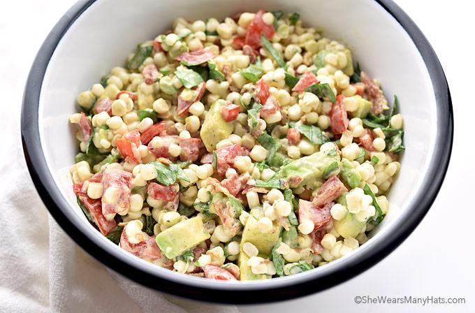 Avocado Bacon Tomato Spinach Corn Salad Recipe | shewearsmanyhats.com