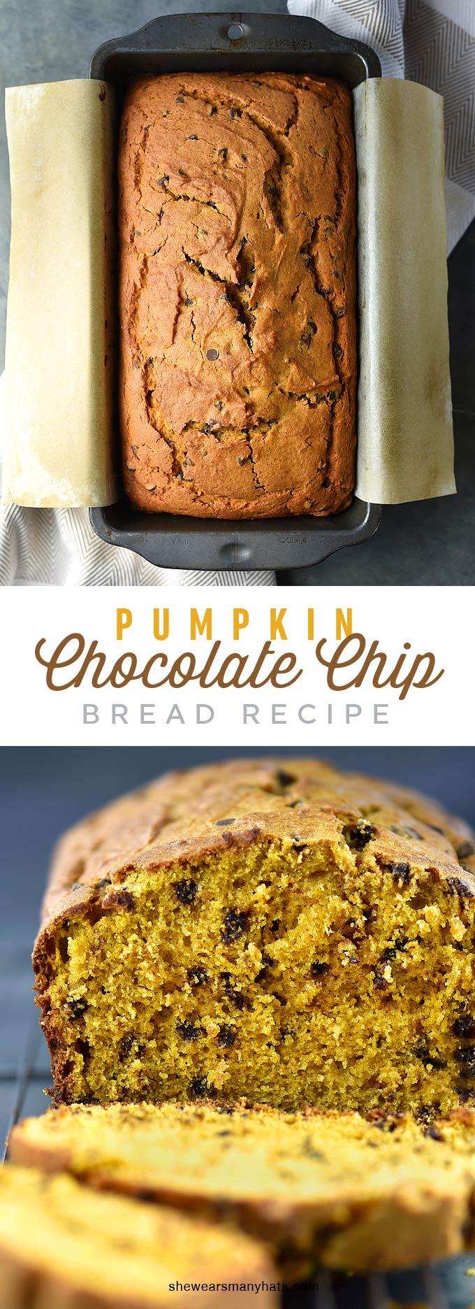 Pumpkin Chocolate Chip Bread Recipe | shewearsmanyhats.com