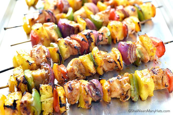 Hawaiian Chicken Kabobs Recipe   shewearsmanyhats.com
